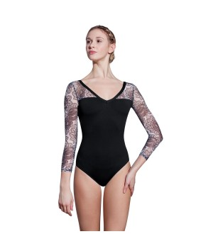 Lulli LUF429 Tylor Long Sleeve Print Mesh Leotard