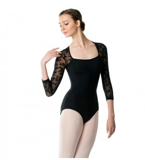 Lulli LUF472 Long Sleeve Leotard Albertine Flower Mesh