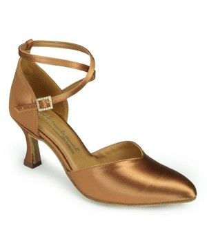 International Dance Shoes American Smooth - Tan Satin