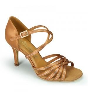 International Dance Shoes Larissa/Cindy Sequin - Tan Satin